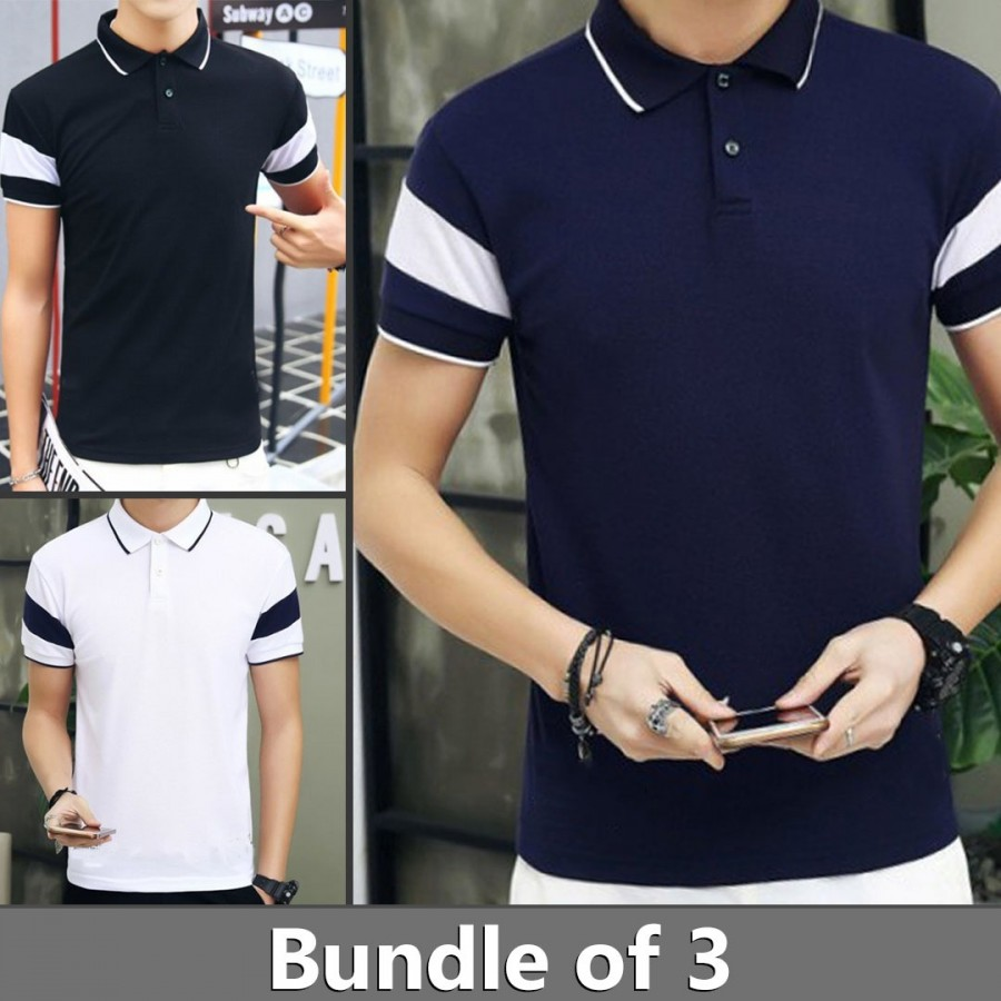 Bundle of 3 Stripe Sleeves Polo T-Shirts