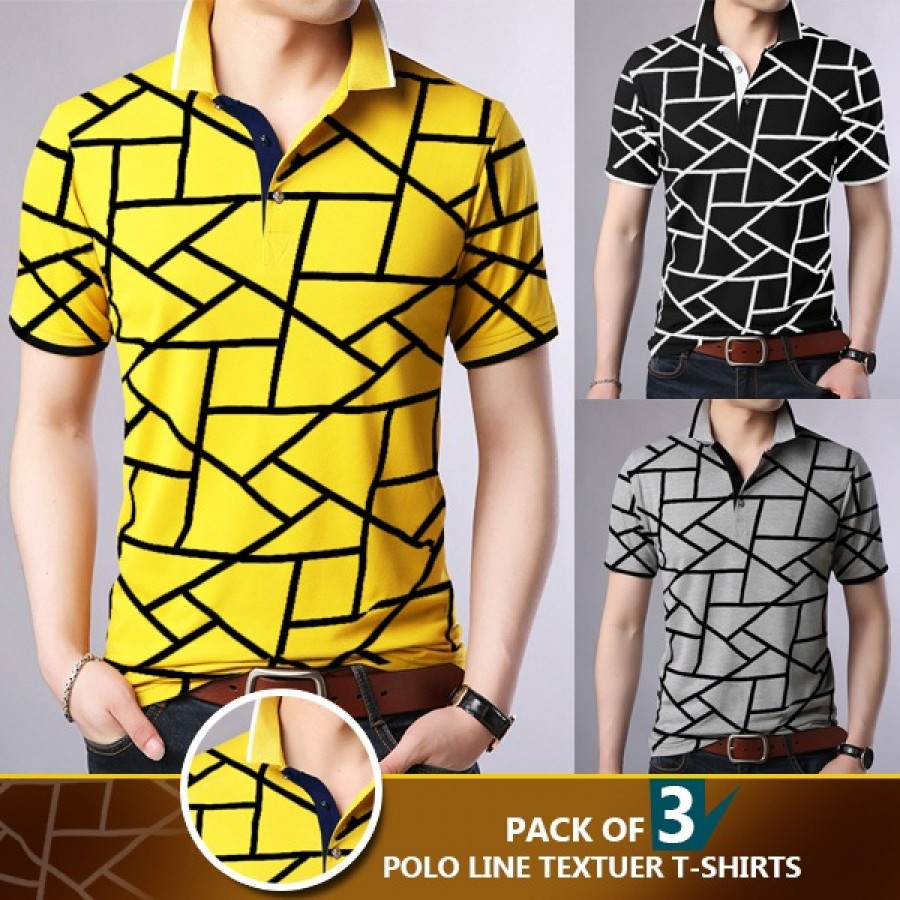 Pack of 3 Polo Line Texture T-Shirt