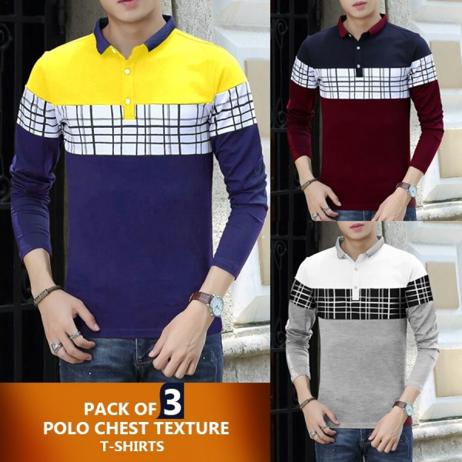 Pack of 3 Polo Chest  Texture T-Shirt