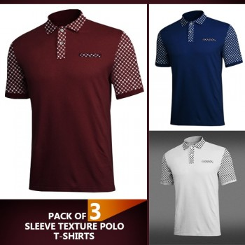 Pack of 3 Sleeve Texture Polo t-shirt
