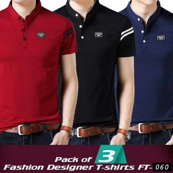 Pack of 3 Fashion Designer T-shirts F-060