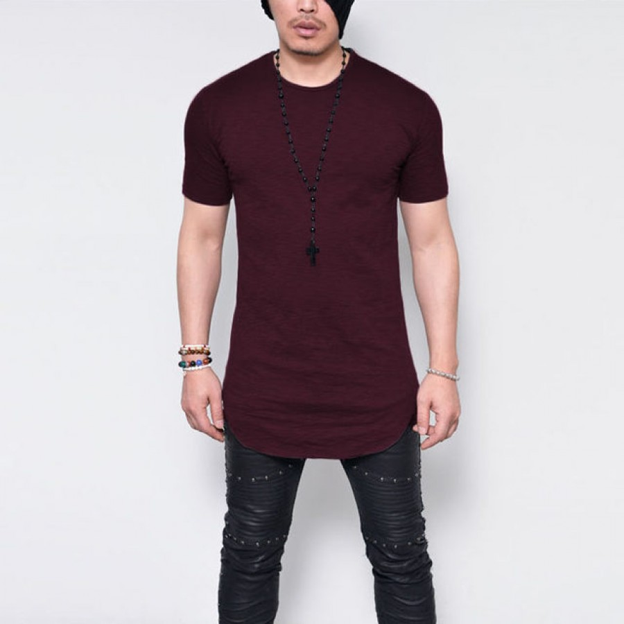 Pack of 4 Mens Basic Extended Long T-shirts