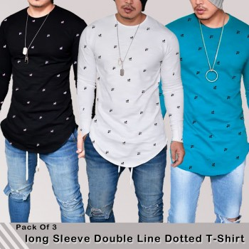 Pack of 3 Long Sleeve Double Line Dotted T-shirts