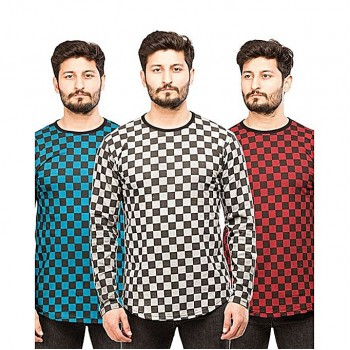 Pack of 3 Small Chekquered full sleeves T-Shirts