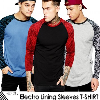 Pack of 3 Electro Lining Sleeves T-Shirts