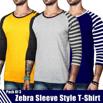Pack of 3 Zebra Sleeve  Style T-Shirts