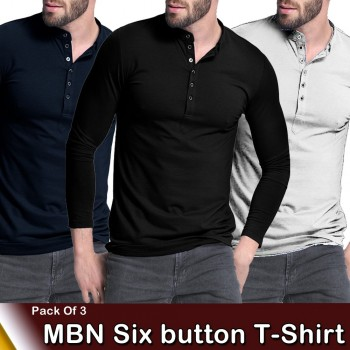 Pack of 3 MBN six button T-shirt