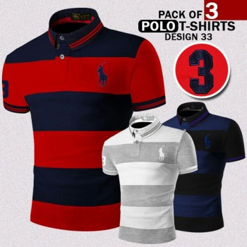 Pack of 3 Polo T-Shirt Design -33