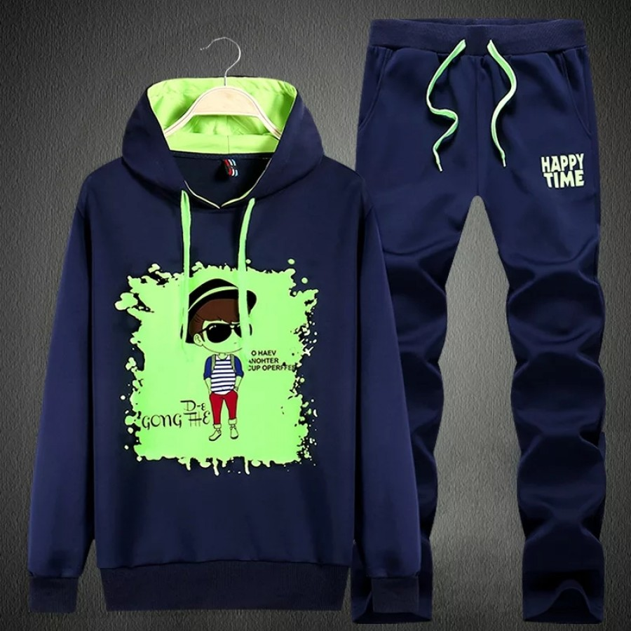 Blue Happy Time Track Suit For Men