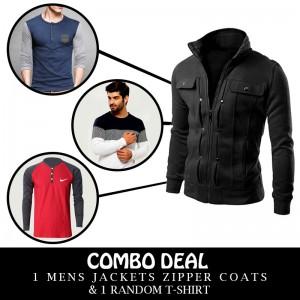 Combo Deal 1 Mens Jackets Zipper Coats And 1 Random T-Shirt