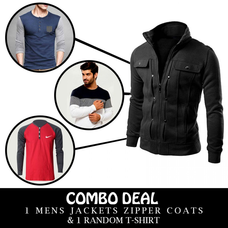 Combo Deal 1 Mens Jackets Zipper Coats And 1 Random T-Shirt