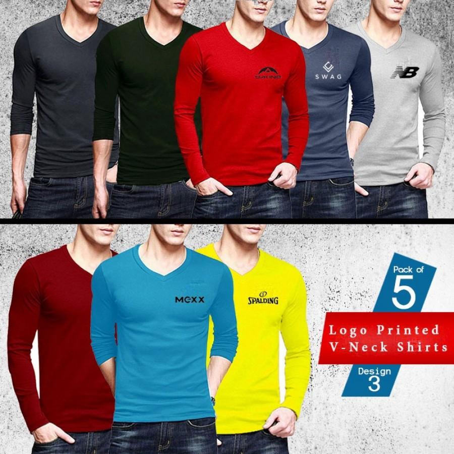 Pack of 5 Logo Printed V Neck Shirts - Design 3