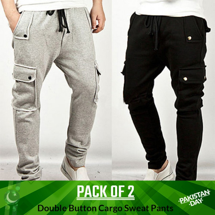 Pack of 2 Double Button Cargo Sweatpants -  Pakistan Day Sale