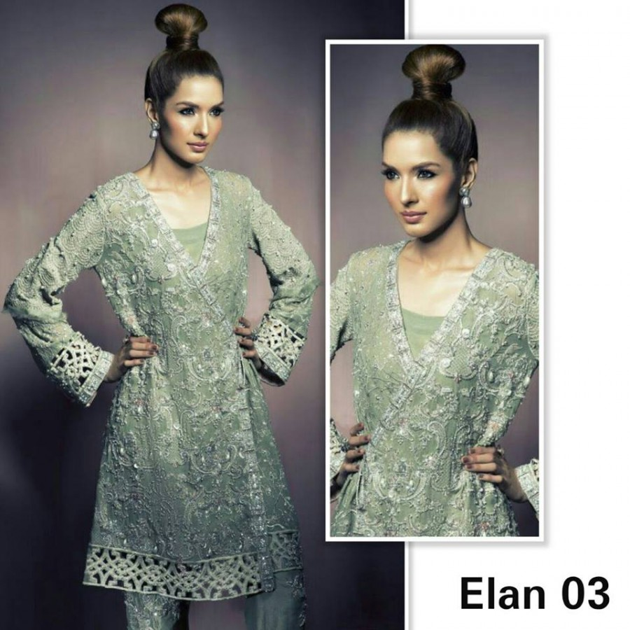 Designer Embroidered 3 piece Suit  (Elan 03)