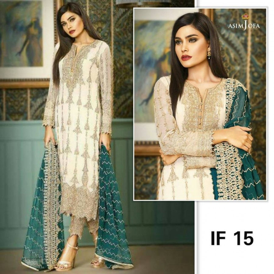 Designer Embroidered 3 piece Suit  (IF 15)