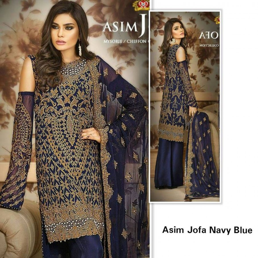 Designer Embroidered 3 piece Suit  (Asim jofa navy blue)