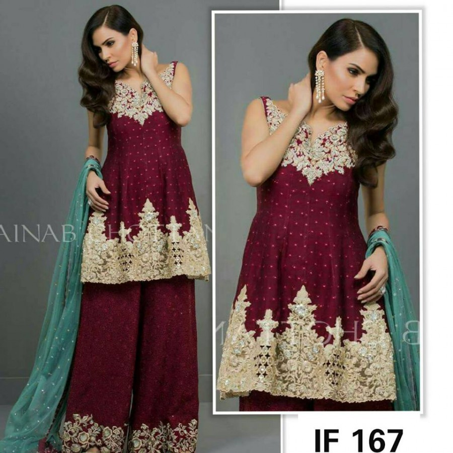 Designer Embroidered 3 piece Suit  (IF 167)