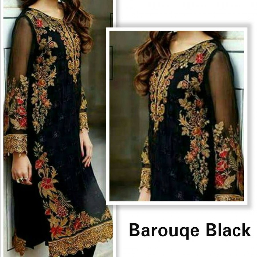 Designer Embroidered 3 piece Suit  (Barouqe Black)