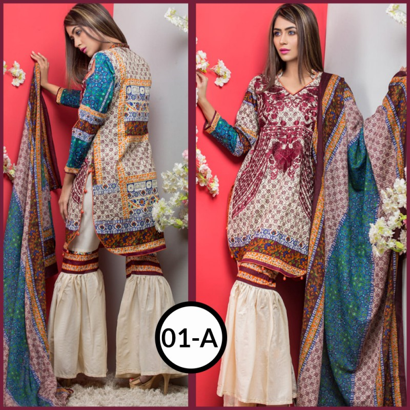 98cf608921 Unstitched Fabric for Women : Maya Ali EMBROIDERED Lawn 2018 (Vol 1)  (Design 01-A)