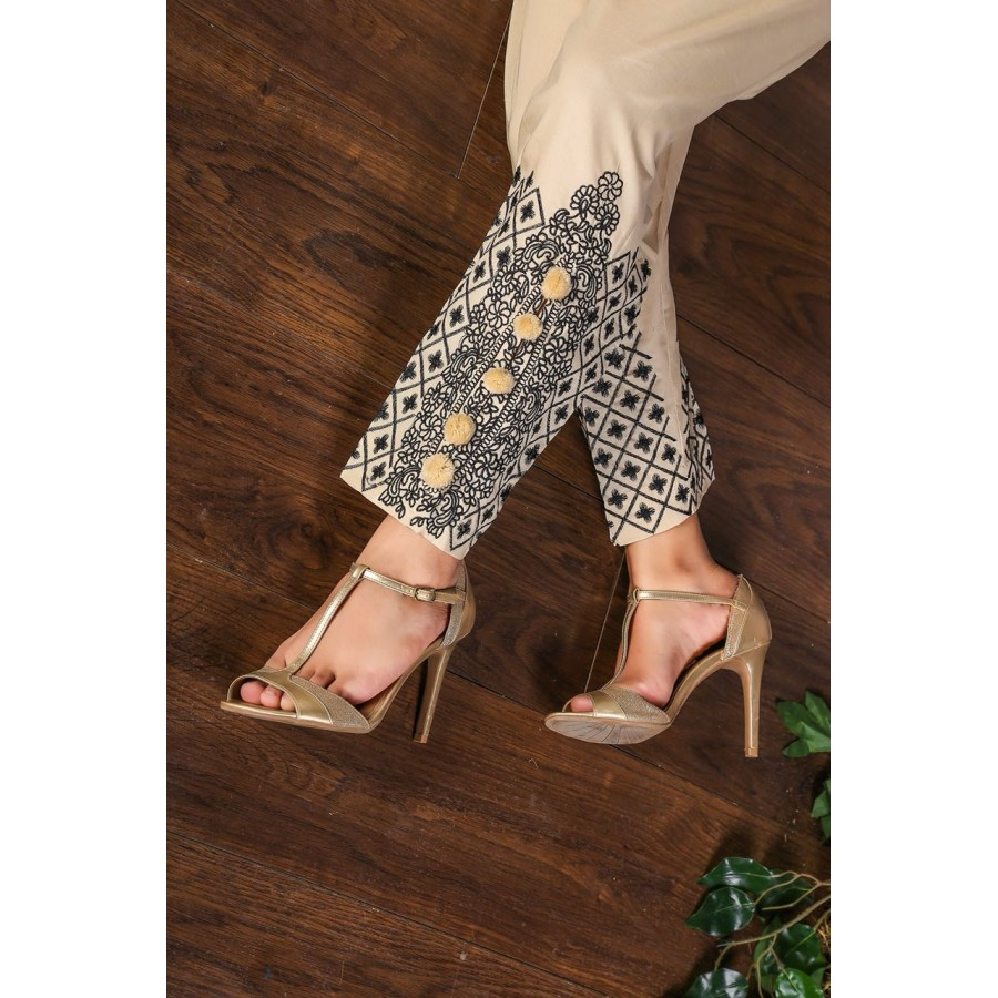 Candy polka dot embroidery cigrate pant - Design 2