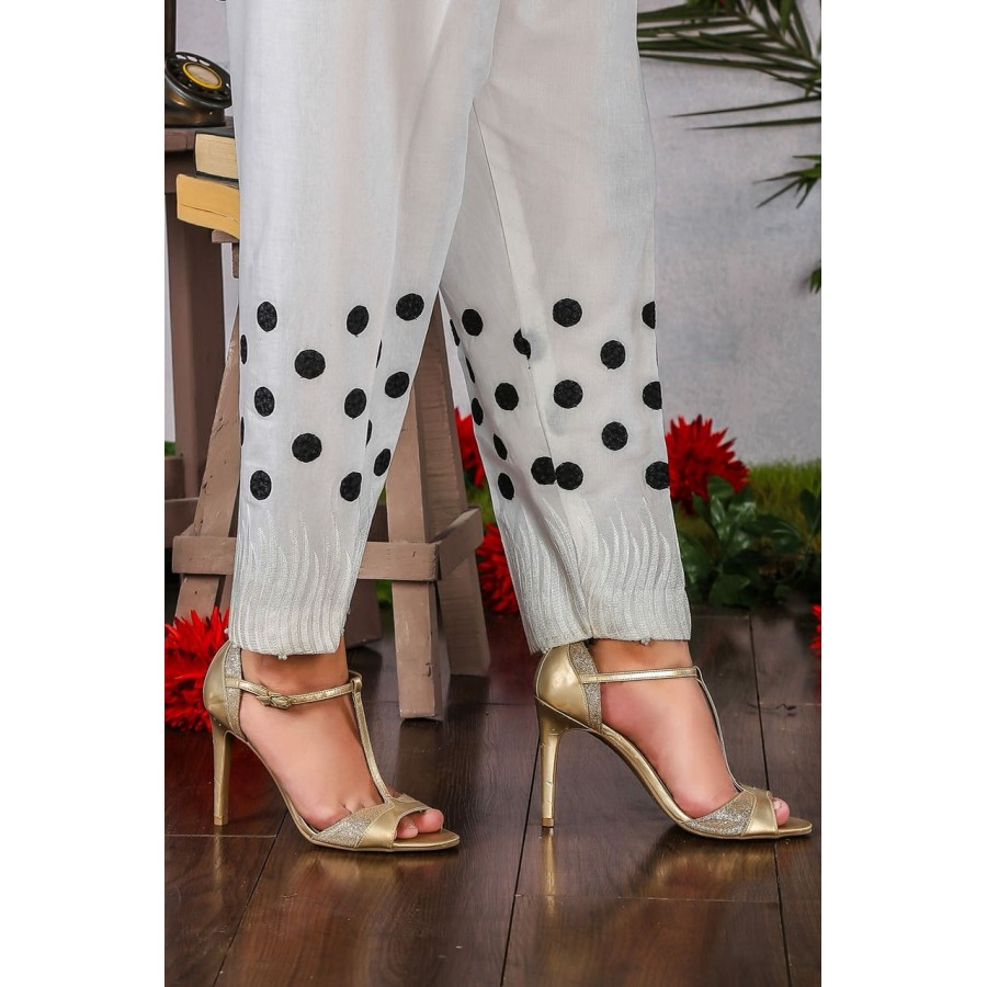 Candy polka dot embroidery cigrate pant - Design 4