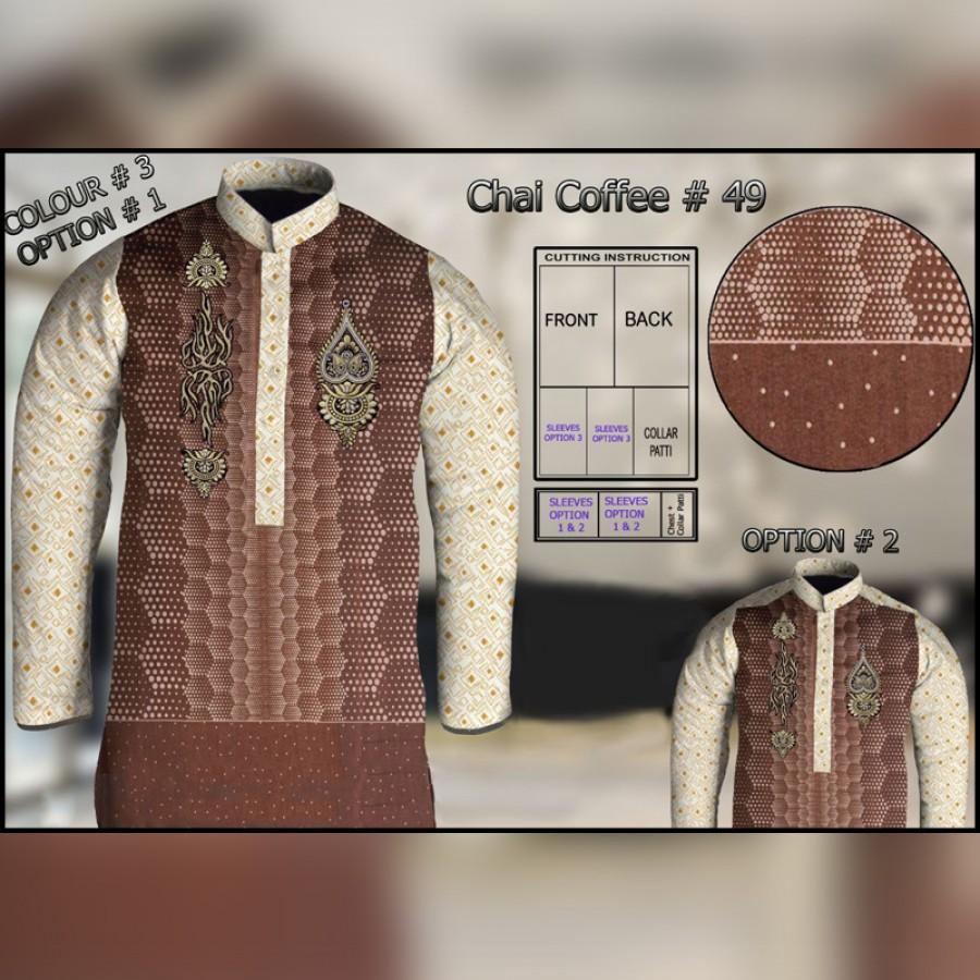 Un-Stitched Kurta ONLY GF  ( Chai Coffee - 49 / Color - 3 )