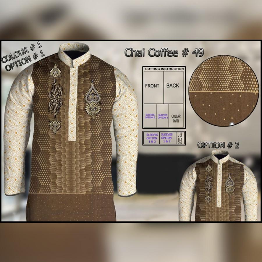 Un-Stitched Kurta ONLY GF  ( Chai Coffee - 49 / Color - 1 )