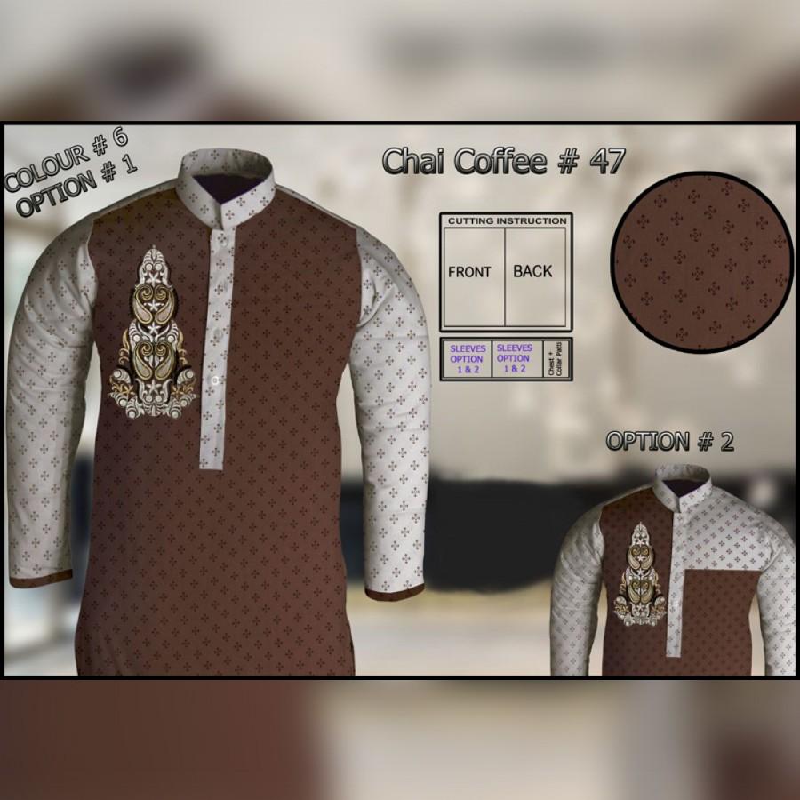 Un-Stitched Kurta ONLY GF  ( Chai Coffee - 47 / Color - 6 )