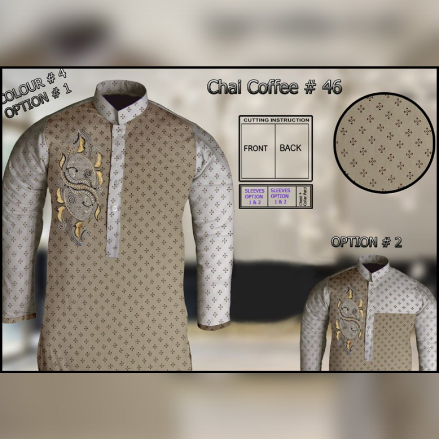 Un-Stitched Kurta ONLY GF  ( Chai Coffee - 46 / Color - 4)