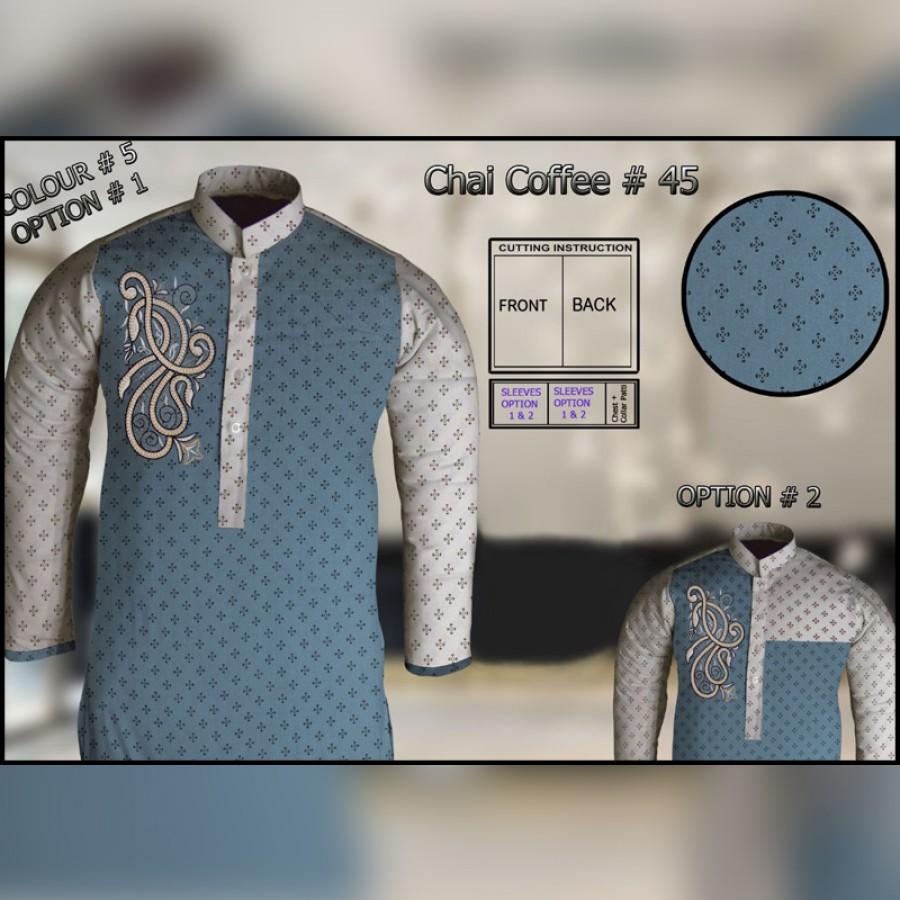 Un-Stitched Kurta ONLY GF  ( Chai Coffee - 45 / Color - 5)