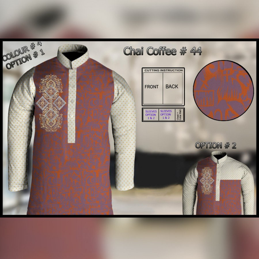 Un-Stitched Kurta ONLY GF  ( Chai Coffee - 44 / Color - 4)