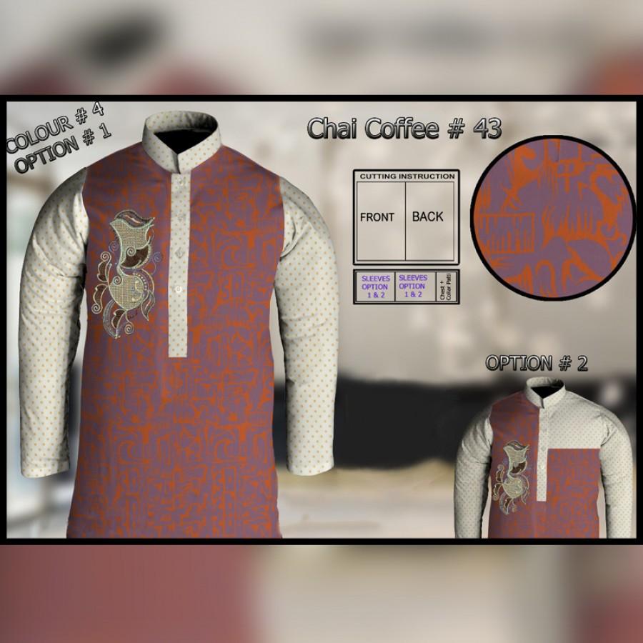 Un-Stitched Kurta ONLY GF  ( Chai Coffee - 43 / Color - 4)