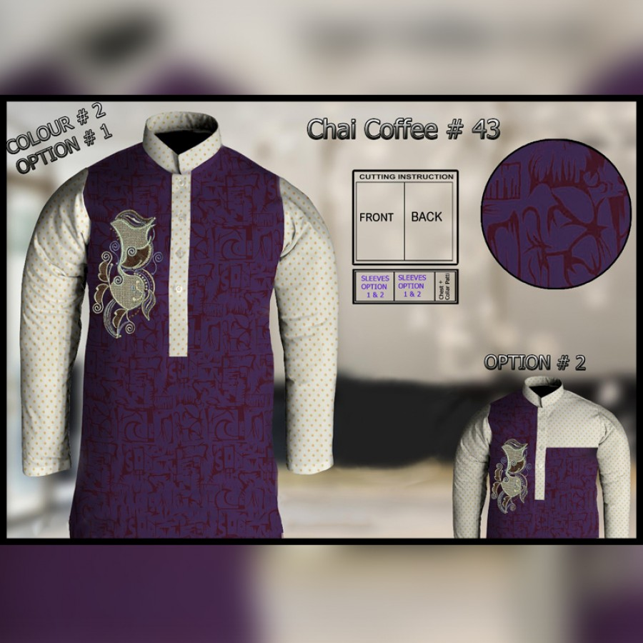 Un-Stitched Kurta ONLY GF  ( Chai Coffee - 43 / Color - 2)