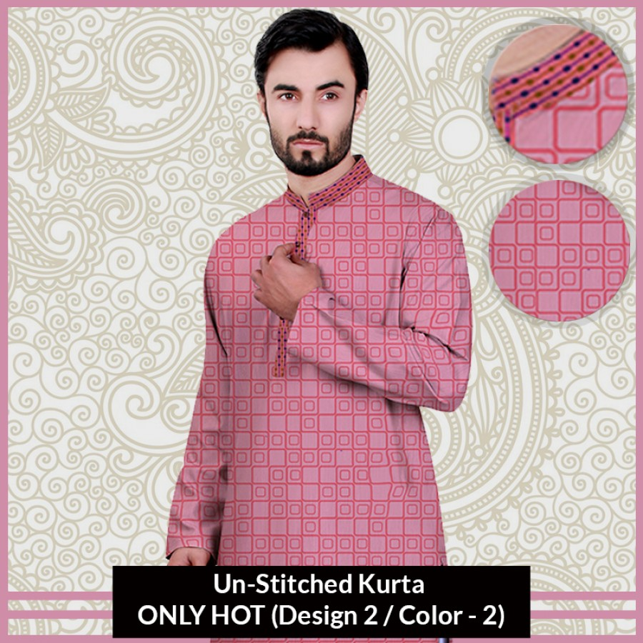 New Un-Stitched Kurta ONLY HOT (Design 2 / Color - 2)