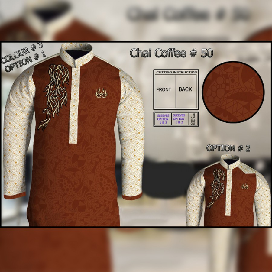 Un-Stitched Kurta ONLY GF ( Chai Coffee - 50 / Color - 3)