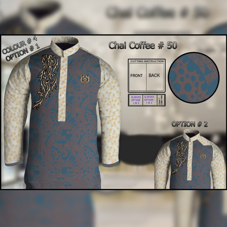 Un-Stitched Kurta ONLY GF ( Chai Coffee - 50 / Color - 4)