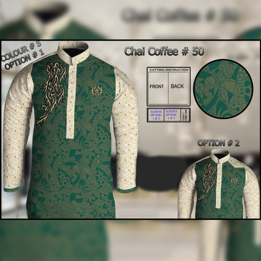 Un-Stitched Kurta ONLY GF ( Chai Coffee - 50 / Color - 5)