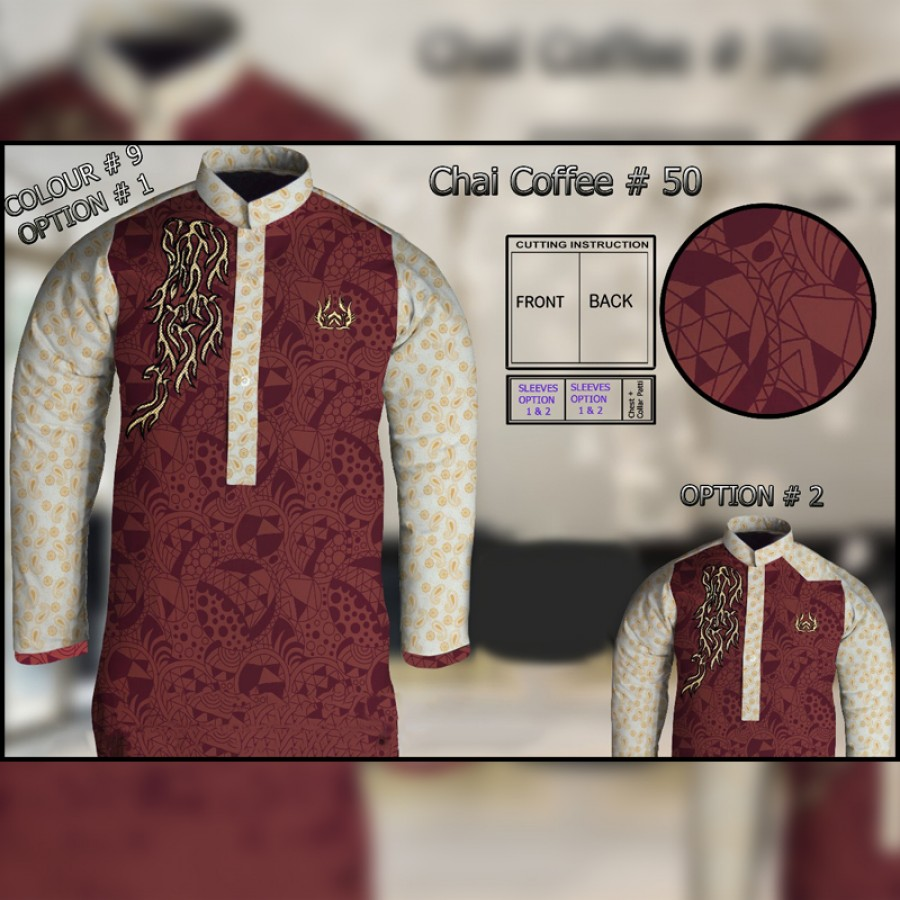 Un-Stitched Kurta ONLY GF ( Chai Coffee - 50 / Color - 9)