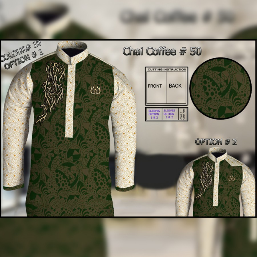 Un-Stitched Kurta ONLY GF ( Chai Coffee - 50 / Color - 10)