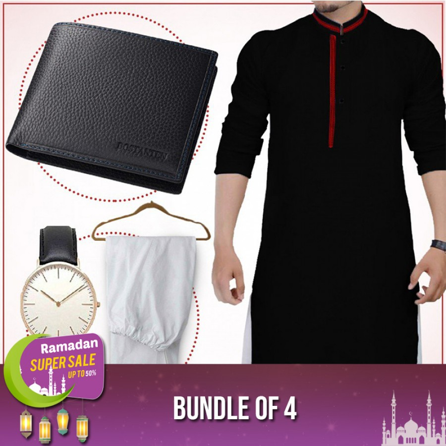 Bundle of 4 ( 1 Kurta,1 Shalwar, 1 wallet and 1 watch )-RAMADAN SUPER SALE