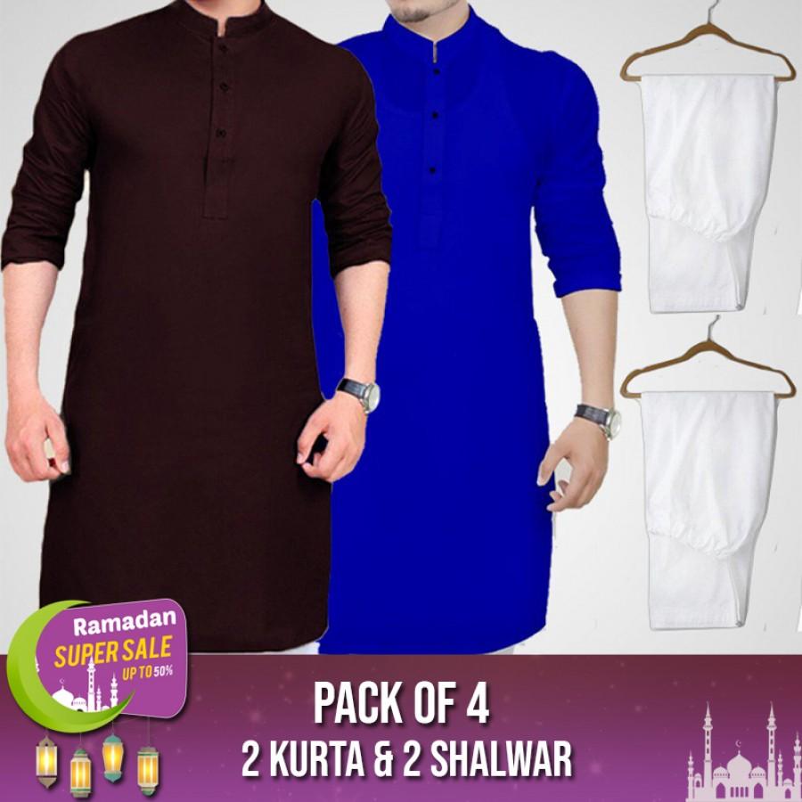 Pack Of 4 ( 2 Kurta,2 Shalwar )-RAMADAN SUPER SALE