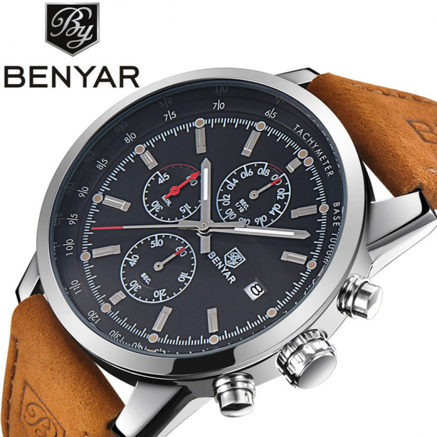 Benyar Man Watch Top Brand Luxury Male Leather WaterProof Sport Quatz Chornograpgh Military Wrist Watch Men Clock Relogio