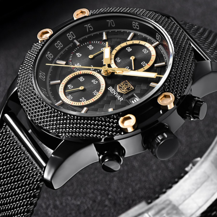 BENYAR Sport Chronograph Fashion Watches Men Mesh Rubber Band Waterproof Luxury Brand Quartz Watch Gold Saat