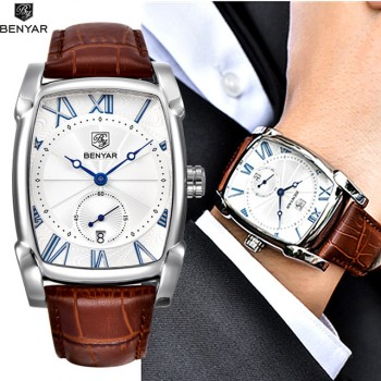 Benyar 2017 Luxury Brand Quartz Mens Watches Brand Men Military Leather Men Sports Watch Hour Date Water Proof Relogio Masculino