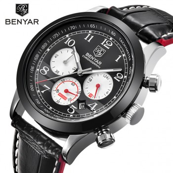 Benyar Brand Sport WaterProof Chornograph Men Watch Top Brand Luxury Male Leather Quartz Military Wrist Watch Men Clock Saat