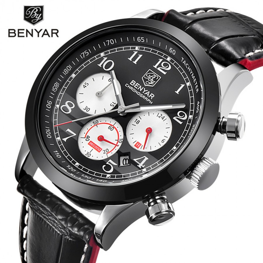 Benyar Brand Sport WaterProof Chornograph Men Watch Top Brand Luxury Male Leather Quartz Military Wrist Watch Men Clock Saat