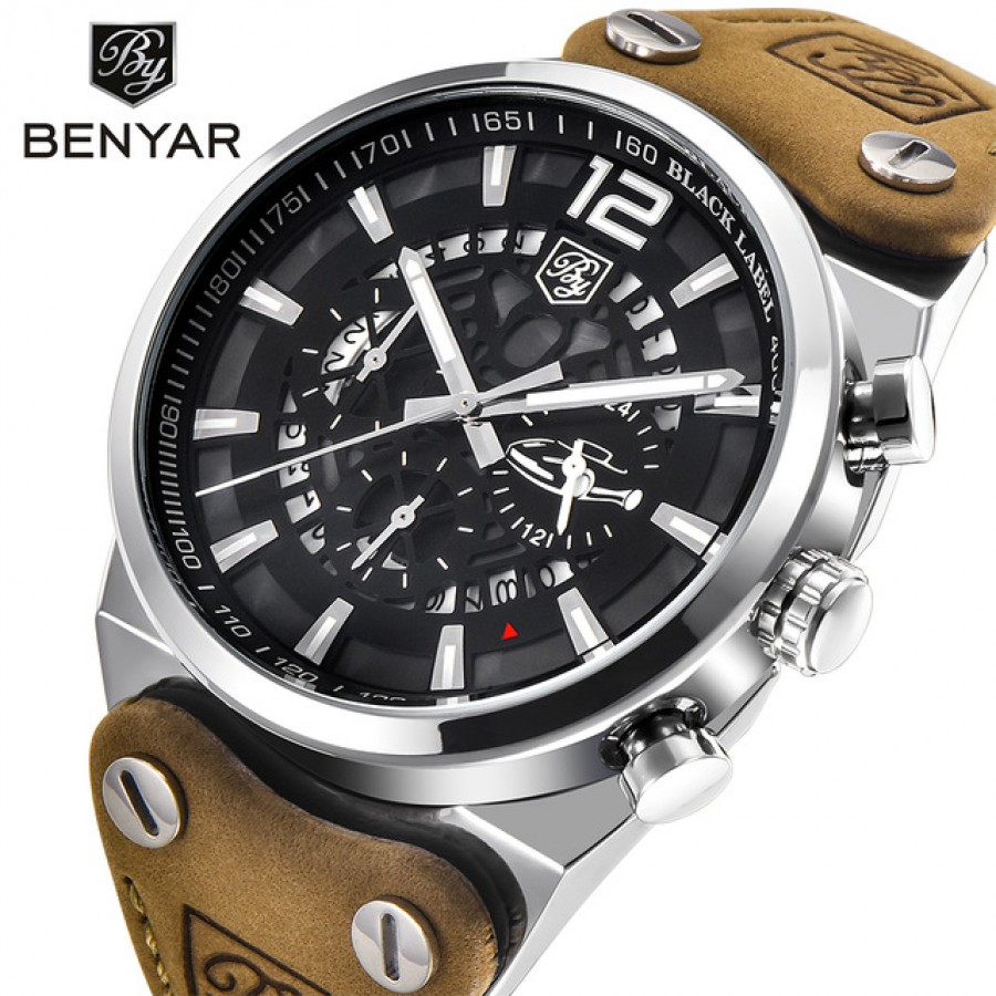 Benyar Sport Men Watches Skeleton Military Chornograph Quartz Men Outdoor Big Dial Watch Army Male Clock Relogio Masculino Saat