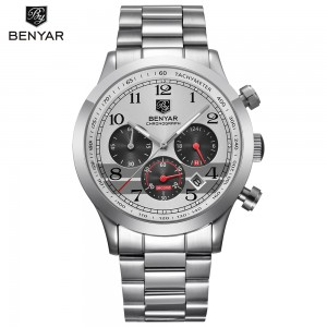 BENYAR Stainless Steel Waterproof Chronograph Watches Quartz Military Men Watch Top Brand Luxury Male Sport Clock reloj hombre