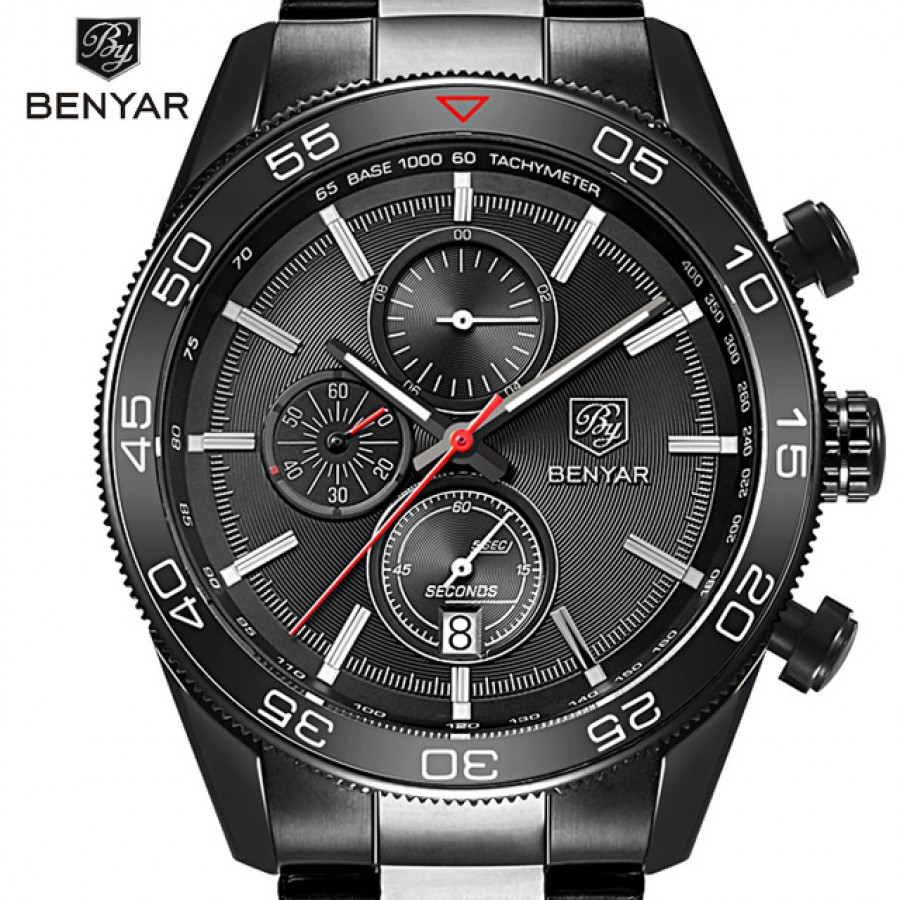Luxury Brand BENYAR Waterproof Men's Watches Full Steel Quartz Analog Army Military Sport Watch Men Clock Male Relogio Masculino