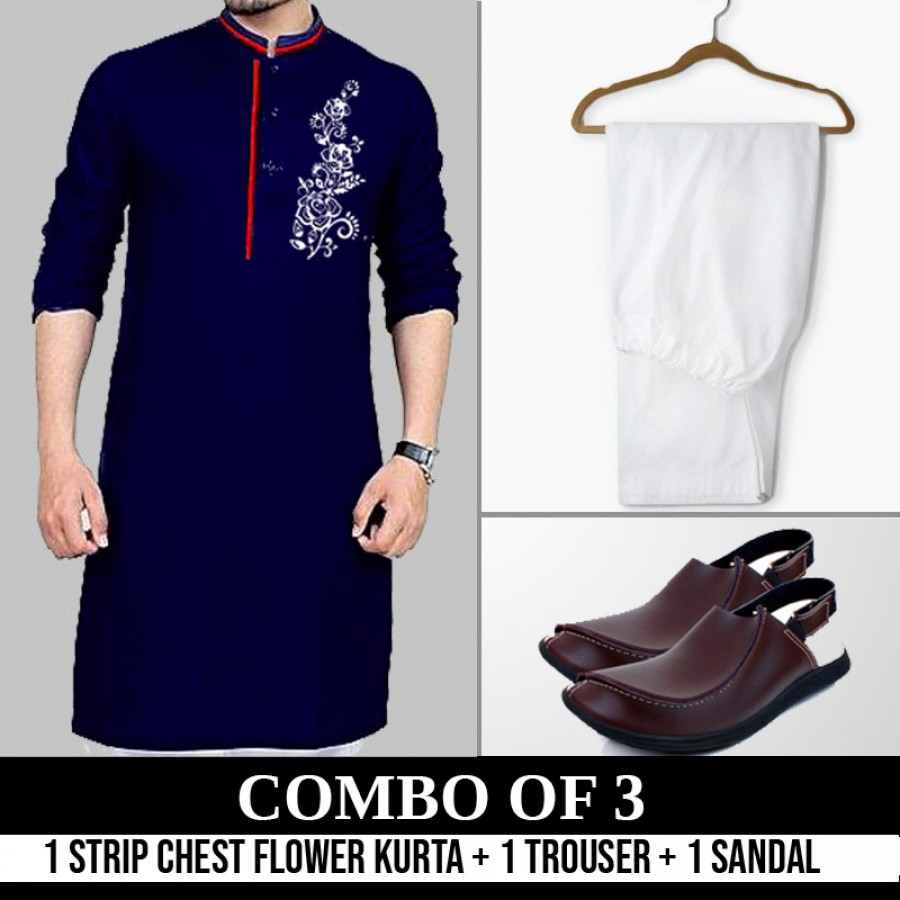 1 STRIP CHEST FLOWER KURTA + 1 TROUSER + SANDALS